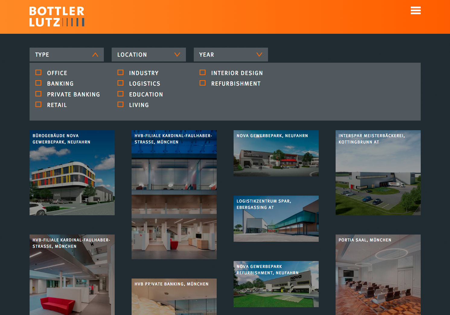 Übersicht Architektur Projekte Architekten Webseite
