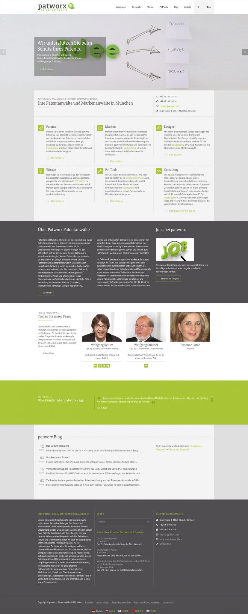Patentanwaltskanzlei Webseite