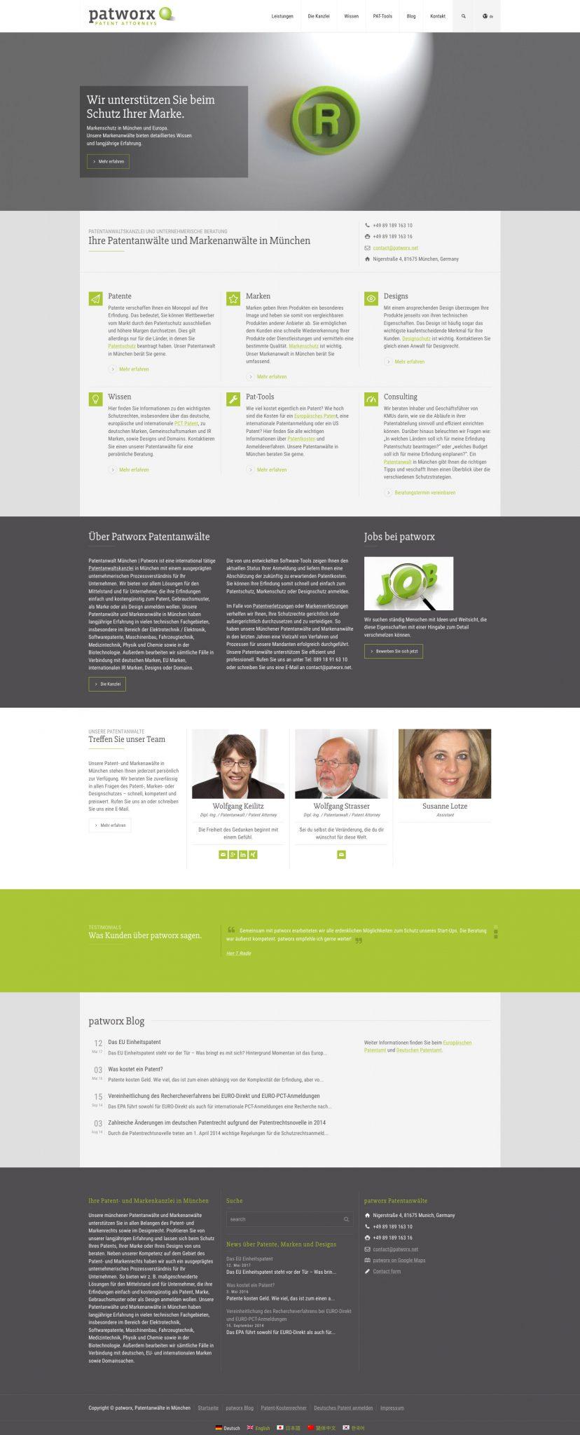 Webseite Patentanwaltskanzlei